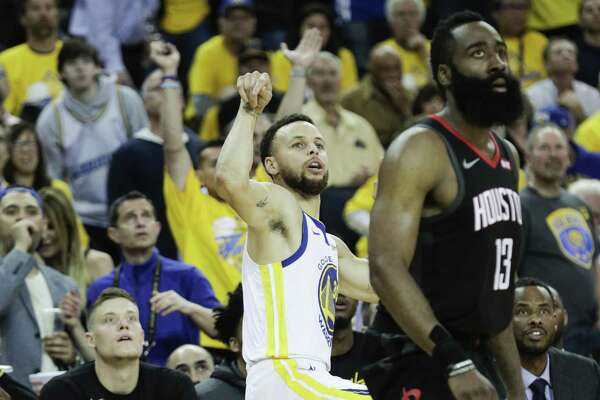 a669914a8d02 1of12Golden State Warriors Stephen Curry and Houston Rockets James Harden  watch a Curry second quarter three-pointer during game 5 of the Western  Conference ...