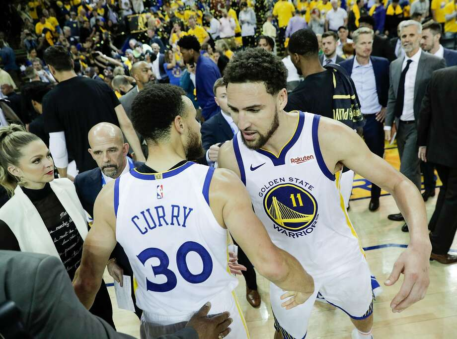 Golden State Warriors Stephen Curry and Klay Thompson embrace after the Warriors' 104 to 99 victory over the Houston Rockets in game 5 of the Western Conference Semifinals between the Golden State Warriors and the Houston Rockets at Oracle Arena on Wednesday, May 8, 2019 in Oakland, Calif. Photo: Carlos Avila Gonzalez / The Chronicle