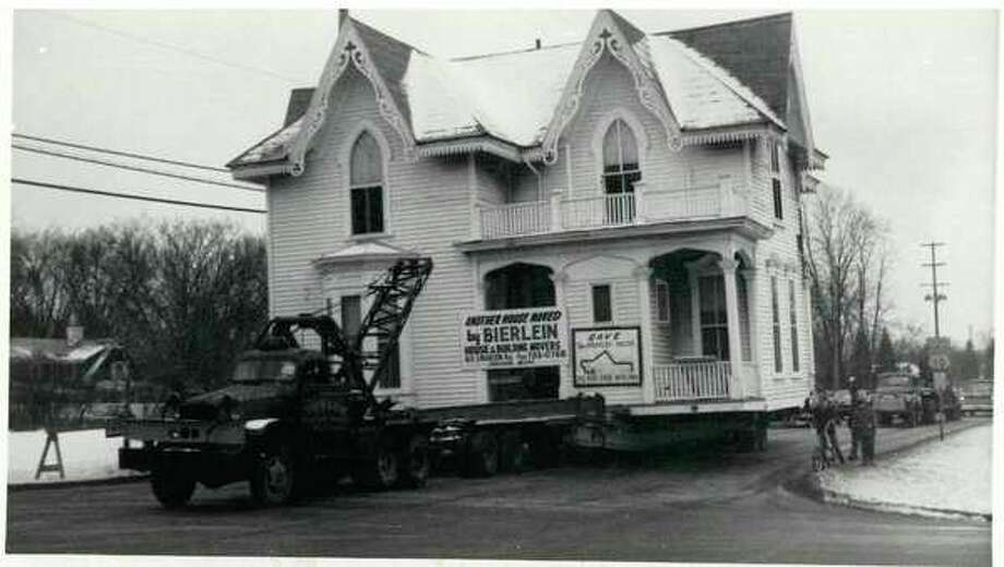 The Bradley House being moved in 1969. (Midland County Historical Society)