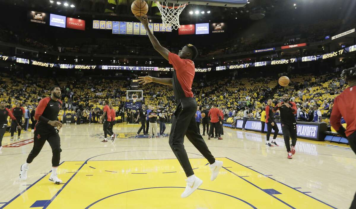 Houston Rockets center Clint Capela (15) warms up before Game 5 of the NBA Western Conference semifinals against Golden State Warriors at Oracle Arena on Wednesday, May 8, 2019, in Oakland.