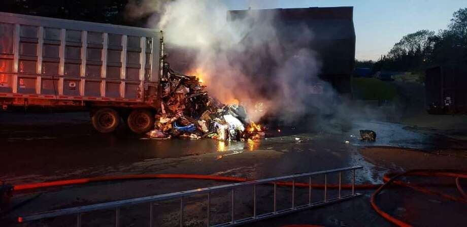 Large trash trailer catches fire at Trumbull transfer