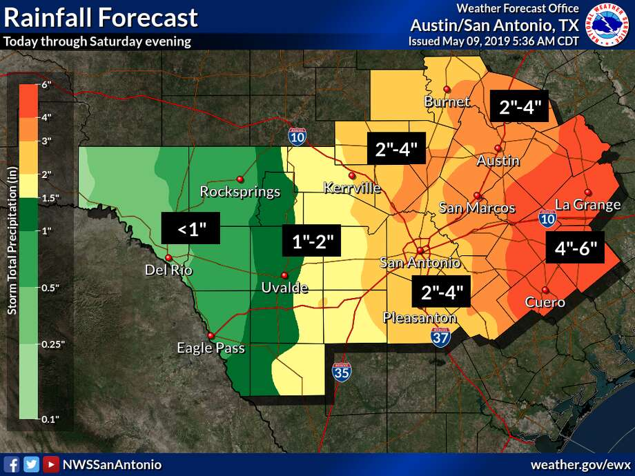 """Forecasters predict the county could receive between 2 and 4 inches of rain through Saturday. According to the weather service, the region is """"primed"""" for flash flooding due to recent heavy rainfall. Photo: National Weather Service"""