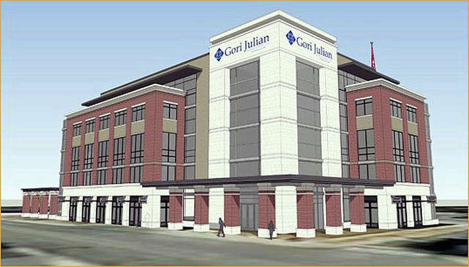 This rendering of Gori Julian's proposed new headquarters on Main Street was shown Tuesday during the Mayor Hal Patton's State of the City address. Demolition of the former public safety building, currently on the site, is scheduled for later this year. Photo: For The Intelligencer