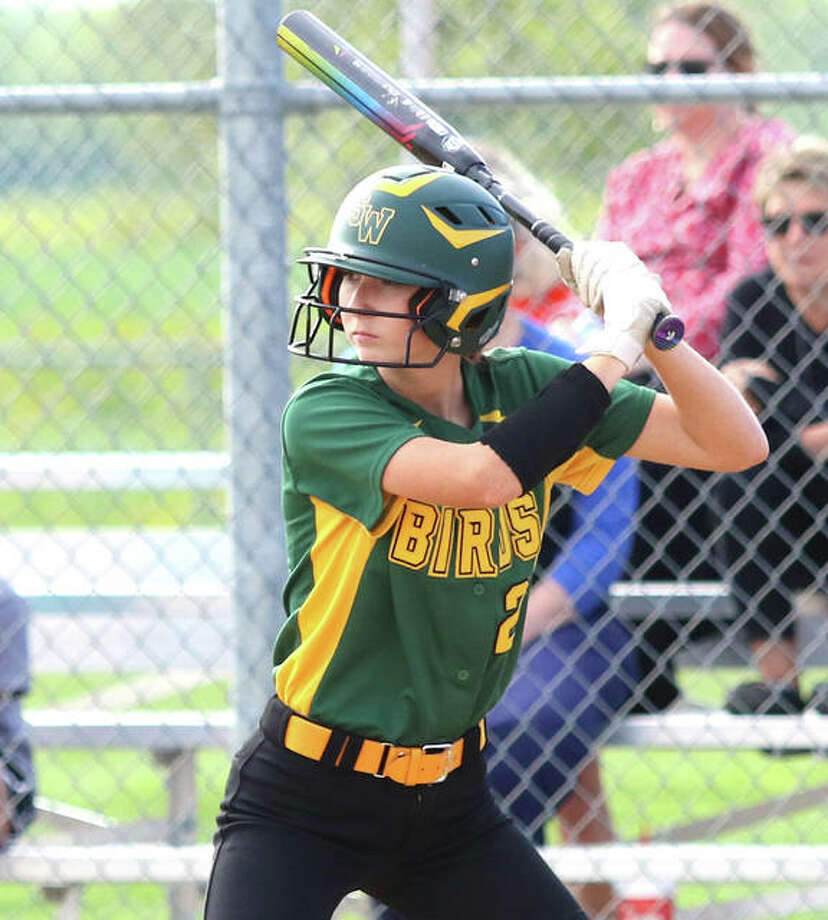 Southwestern's Hannah Nixon accounted for the Piasa Birds' lone hit in a 2-0 loss to Hillsboro on Wednesday. The victory gives the Hiltoppers the SCC championship and halts Southwestern's winning streak at 19 in a row. Photo: Greg Shashack / The Telegraph
