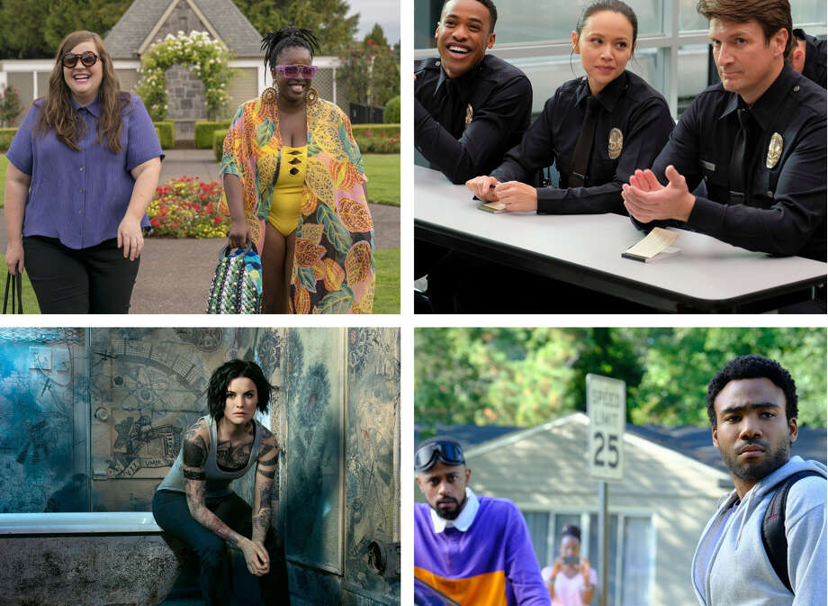 """Clockwise from upper left: Aidy Bryant and Lolly Adefope in """"Shrill"""" (Allyson Riggs/Hulu); Titus Makin, Melissa O'Neil and Nathan Fillion in """"The Rookie"""" (Tony Rivetti/ABC); Lakeith Stanfield and Donald Glover in """"Atlanta"""" (FX); Jaimie Alexander in """"Blindspot"""" (Matthias Clamer/NBC). Photo: The Washington Post / Allyson Riggs/Hulu; Tony Rivetti/ABC; FX; Matthias Clamer/NBC"""