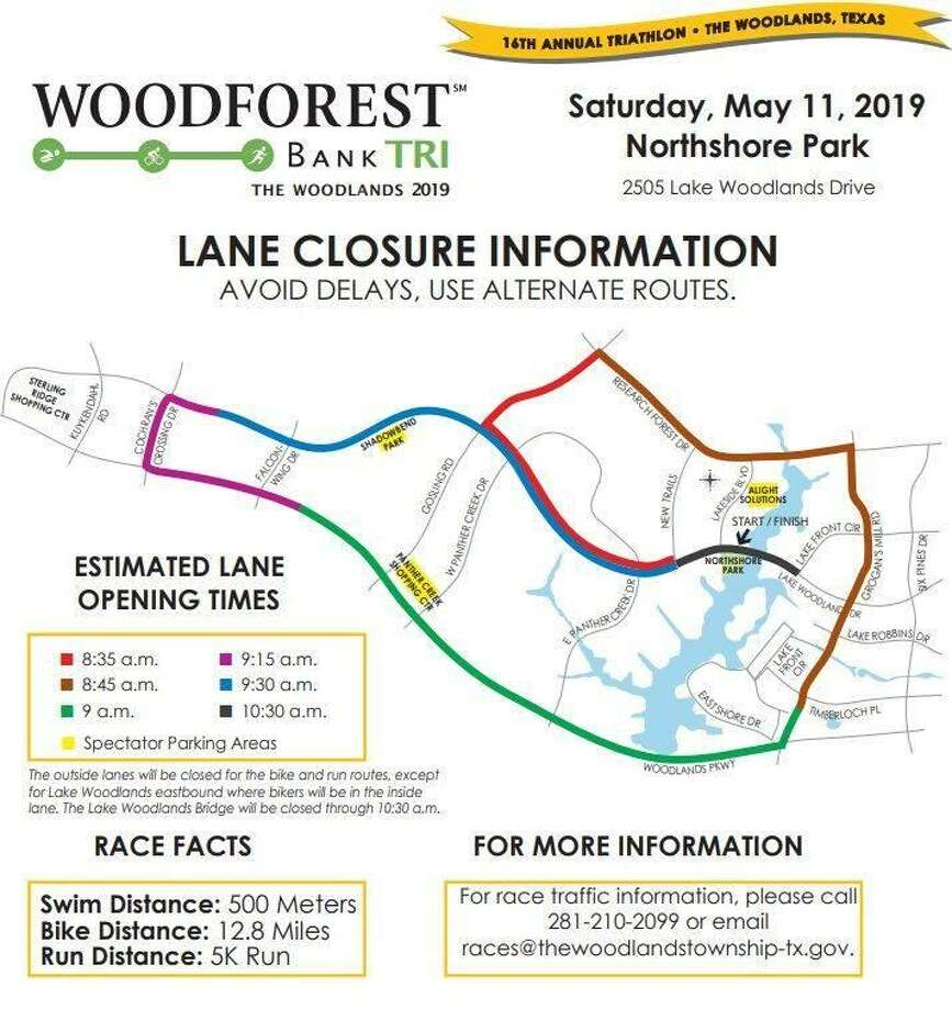This map shows the route for the 2019 Woodforest Bank Tri, which is scheduled for 6:30 a.m. Saturday, May 11. Photo: Map Courtesy The Woodlands Township / Map Courtesy The Woodlands Township