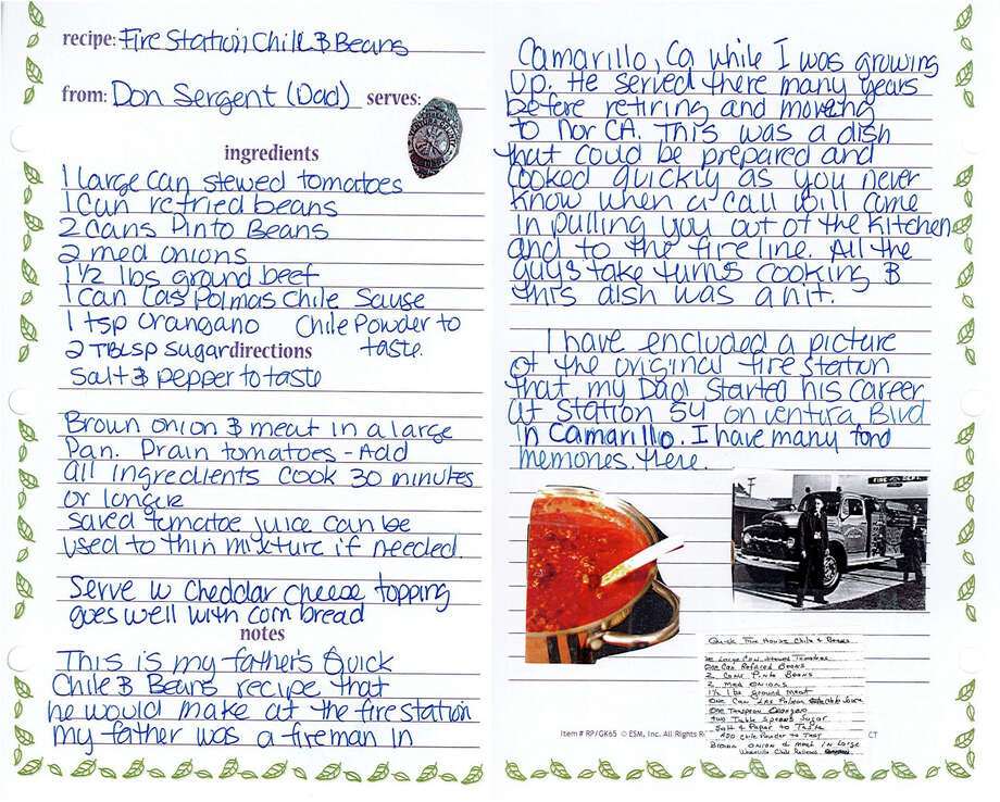 Don Sergent's recipe for chili and beans, handwritten by Debra Brown. Photo: Debra Brown. / Debra Brown