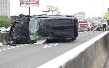 Rollover crash on Southwest Freeway HOV lane sends infant, 2