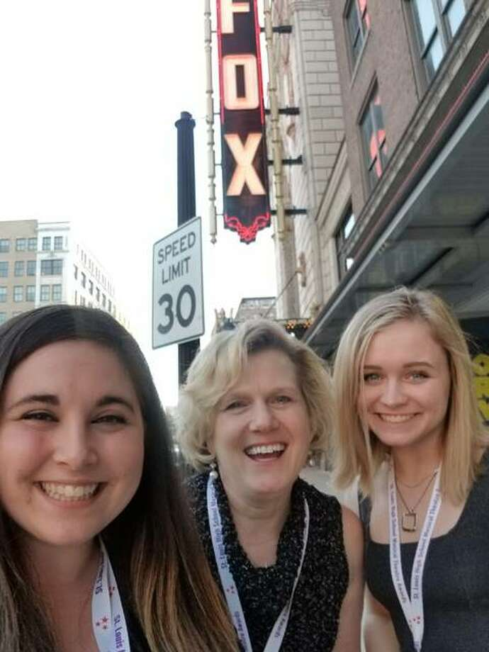 EHS Drama Director Ashley Melton, EHS Musical Director Emily Ottwein, and EHS Student Stage Manager Leta DeBardeleben attended the Medallion Ceremony at The Fox Theatre in St. Louis to officially receive the school's four nominations for the St. Louis High School Musical Theatre Awards. Photo: For The Intelligencer