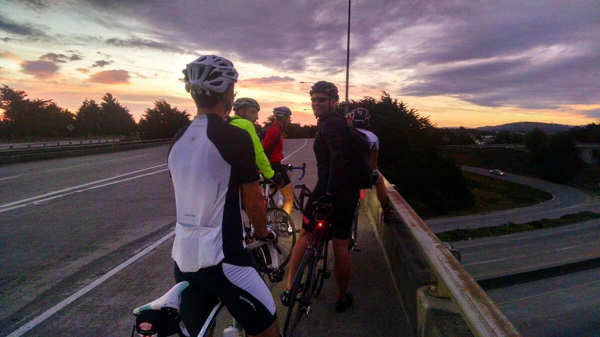 Members of SF2G enjoy a morning sunrise ride.