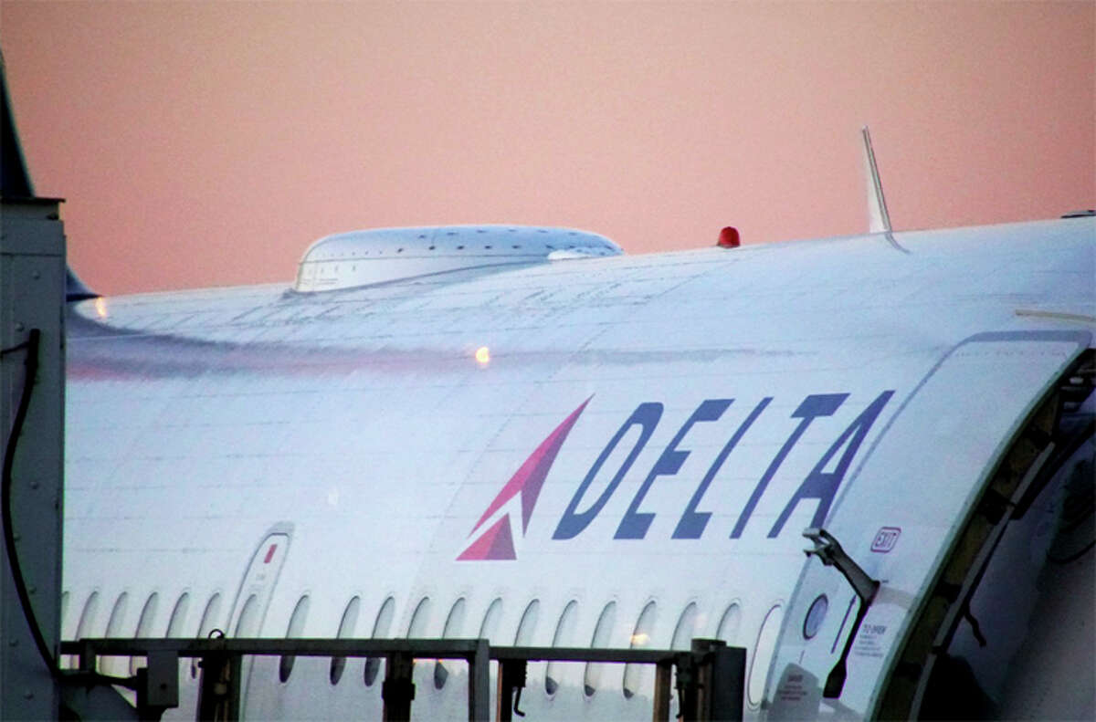 The dome on this Delta jet houses a satellite Wi-Fi receiver.