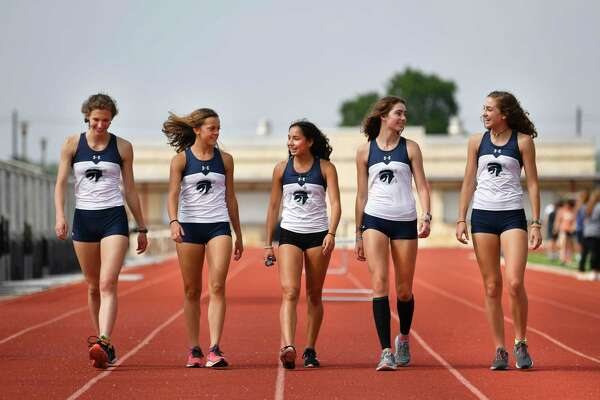 The Boerne Champion 1,600-meter relay team, shown in 2019, included Hadyn Stadler, from left, Layne Bolli, Anastacia Gonzales, Riley Burkey and Reese Burkey.