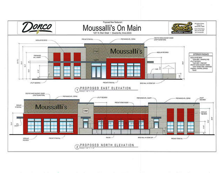 The graphic details a site plan for Moussalli's on Main that the HPC approved Wednesday. However, it went on to deny demolishing Rusty's, due to discrepancies with the preservation of the walls of the Pogue Store within. Photo: Courtesy Of The City Of Edwardsville