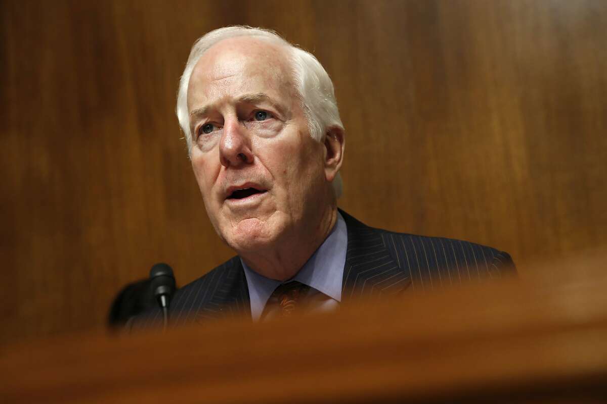 Senate Majority Whip Sen. John Cornyn, R-Texas, chair of the Senate Judiciary Border Security and Immigration Subcommittee, speaks during a hearing about the border, Wednesday May 8, 2019, on Capitol Hill in Washington. (AP Photo/Jacquelyn Martin)