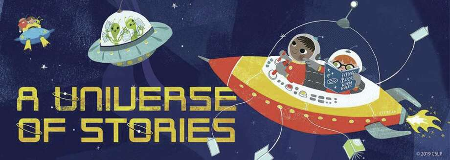 """A banner for the Texas State Library Association's """"A Universe of Stories"""" Summer Reading Program. It's a statewide program that will also take place at all the branches of the Montgomery County Memorial Library System."""