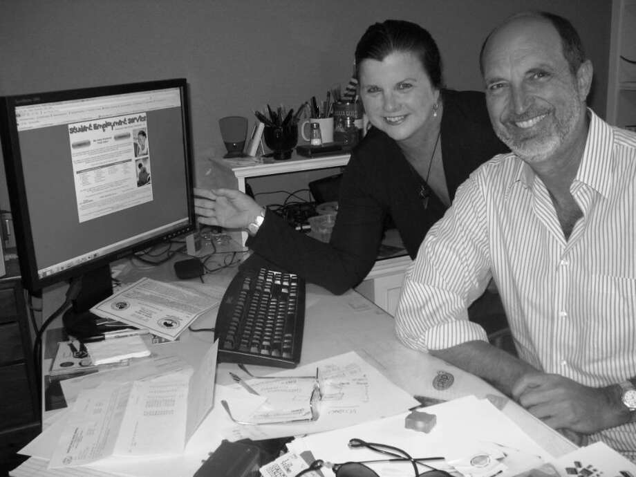 Innovators Kate and Jim Hohorst, seen here in their Greenwich office, recently won a coveted $100,000 federal grant for their Student Employment Software.    Photo: Anne W. Semmes / Greenwich Citizen