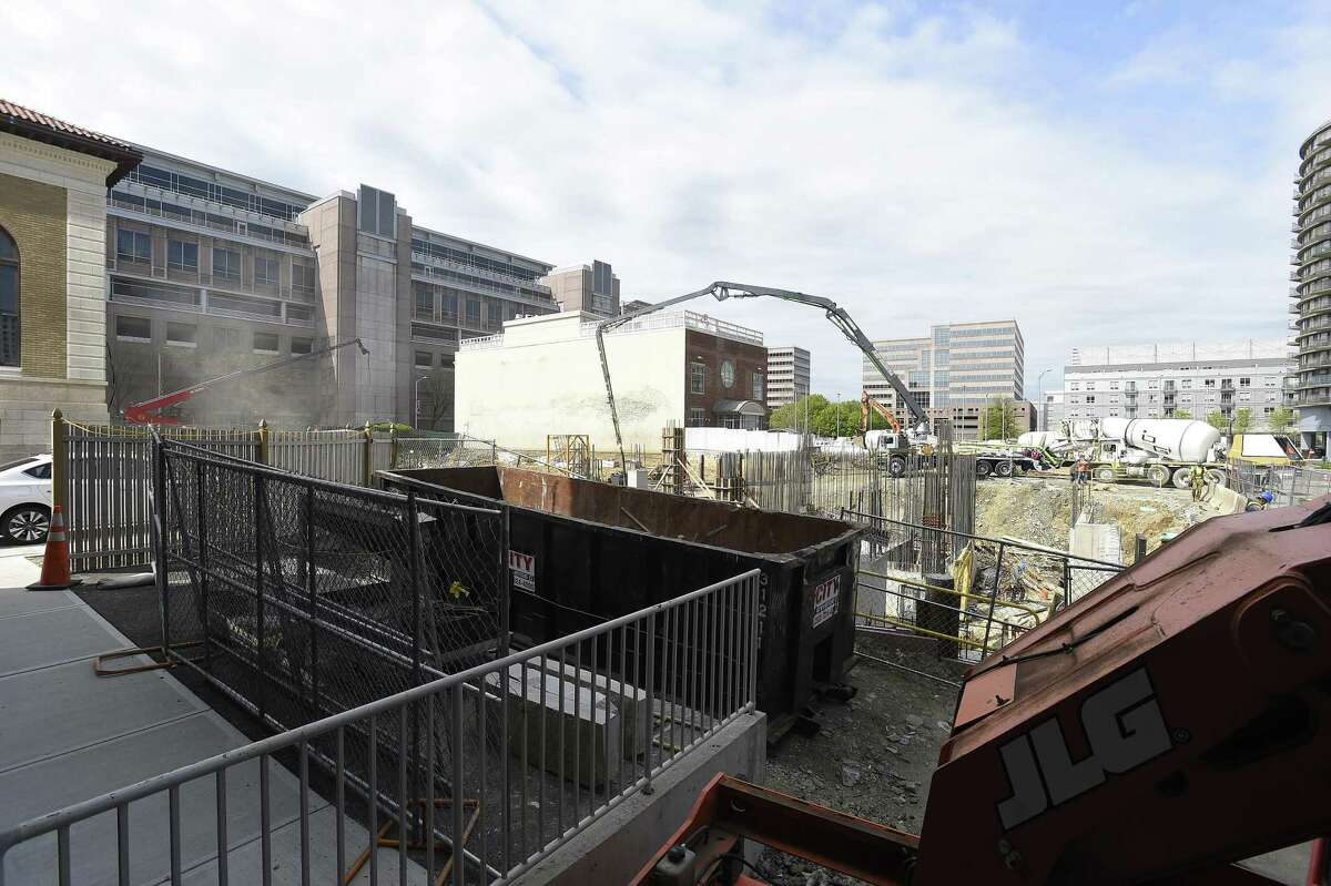 Construction has started, at 405 Atlantic St., on the second 325-unit apartment tower in the Atlantic Station project in downtown Stamford, Conn.