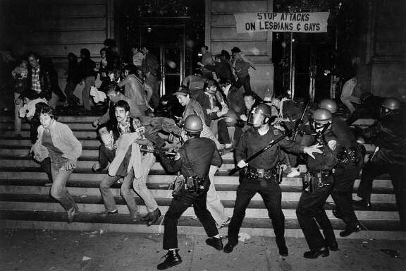 White Night Riots  San Francisco Police try to restore order at City Hall during the protests and riots that took place after the Dan White Verdict May 21 1979