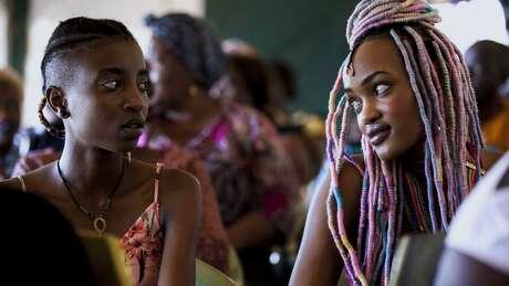 """Samantha Mugatsia and Sheila Munyiva in """"Rafiki."""" MUST CREDIT: Handout courtesy of Film Movement"""