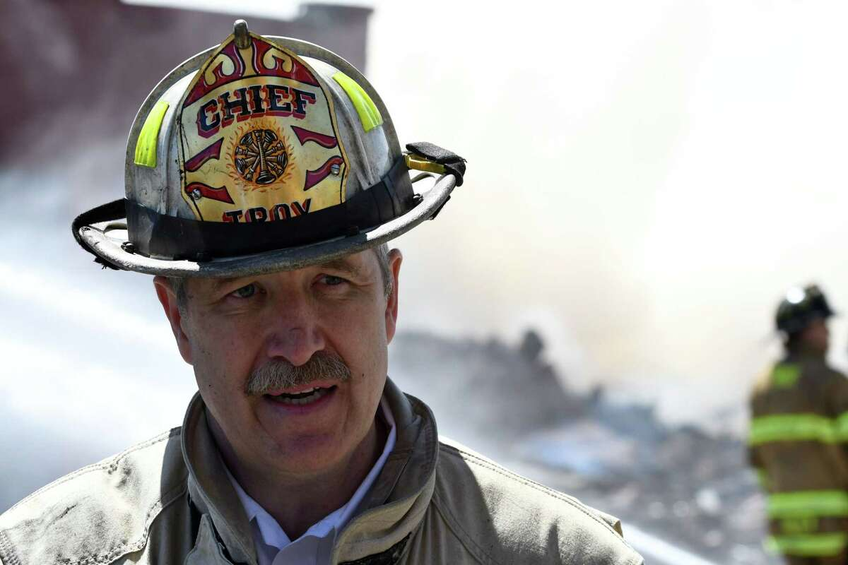 Troy Chief Eric McMahon addresses the media on the Alpha Lanes bowling alley fire on Wednesday, May 8, 2019, in Troy, N.Y. (Will Waldron/Times Union)