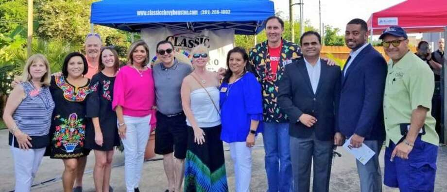 Pictured from left are Judge Brenda G. Mullinix (387th District Court), Judge Maggie Jaramillo (400th District Court), FBS Vice Chairman Greg Schockling, FBS Board Member Courtney Mason, Texas Supreme Court Justice Eva Guzman, La Cocina Owner Andres Novoa, FBS Board Member Sandi McNeil, FBS CEO Manuela Arroyos, Congressman Pete Olson, Fort Bend County Judge KP George, Fort Bend County District Attorney Brian Middleton, and FBS Board Chairman Ray Aguilar. Photo: Courtesy Photo