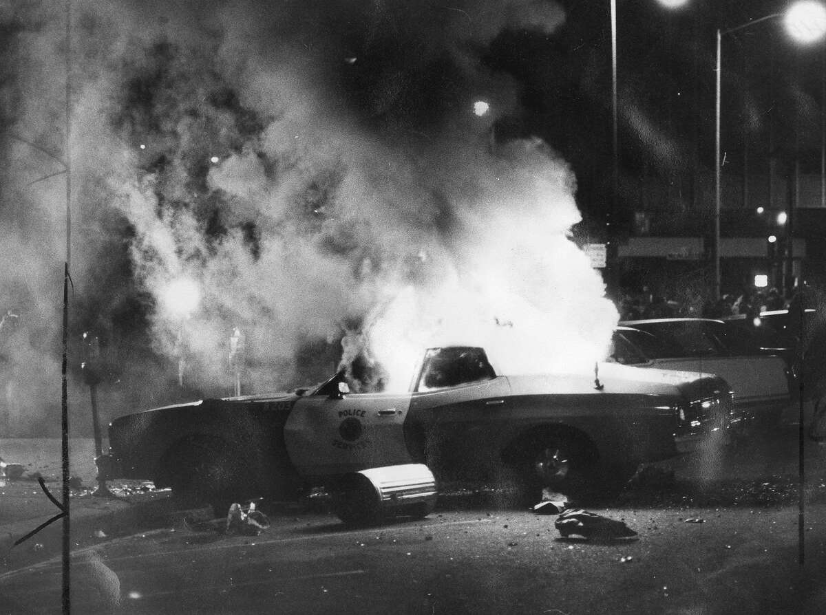 A San Francisco police car burns during the White Night riots on May 21, 1979.