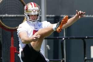 San Francisco 49ers rookie punter Mitch Wishnowsky kicks the ball during the NFL football team's rookie minicamp in Santa Clara, Calif., Friday, May 3, 2019. (AP Photo/Tony Avelar)