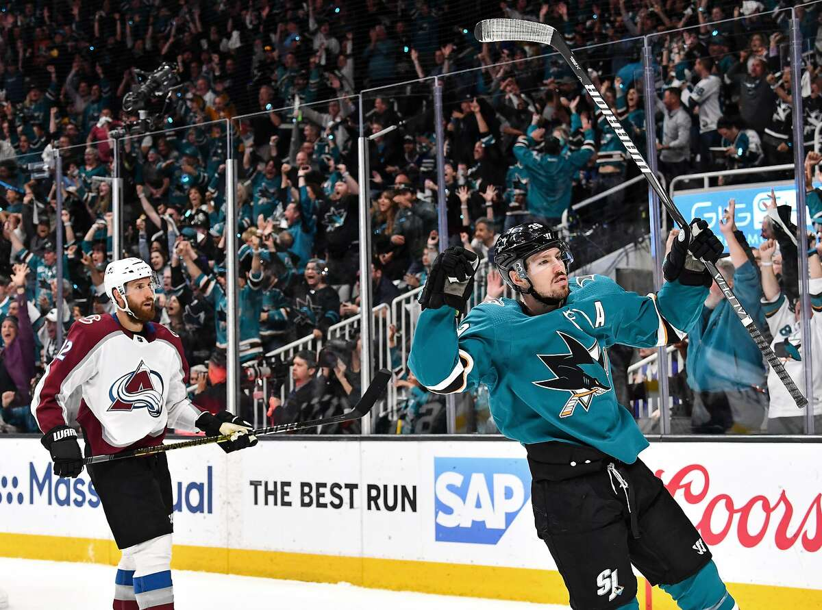 Most Celebrated Venue in San Jose: SAP Center Pictured: Logan Couture #39 of the San Jose Sharks celebrates a goal against the Colorado Avalanche in Game Seven of the Western Conference Second Round during the 2019 NHL Stanley Cup Playoffs at SAP Center on May 8, 2019 in San Jose, California.