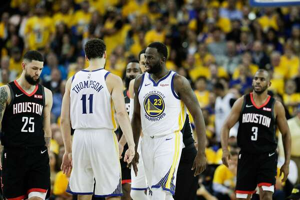 bd9fc813306 1of5Golden State Warriors Draymond Green talks to Klay Thompson in the  fourth quarter during game 5 of the Western Conference Semifinals between  the Golden ...