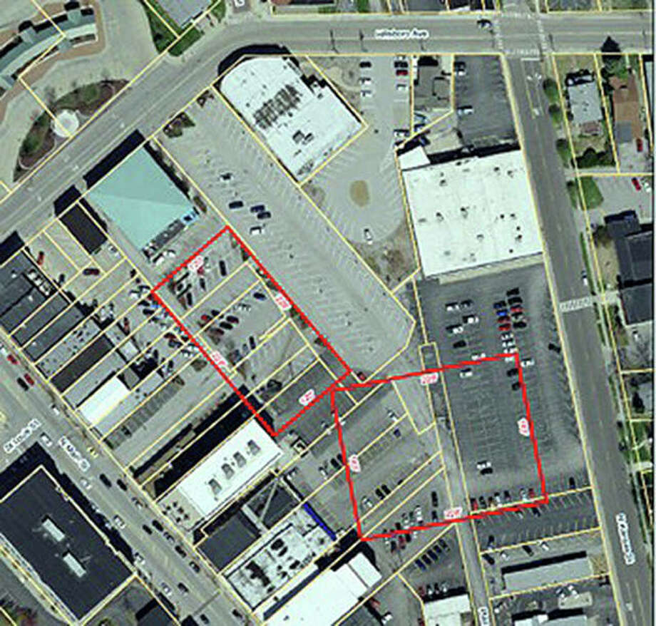 The red rectangle on this aerial photo of downtown Edwardsville highlights one possible place for a new parking garage. Mayor Hal Patton briefly mentioned the subject during his State of the City address Tuesday. Photo: For The Telegraph
