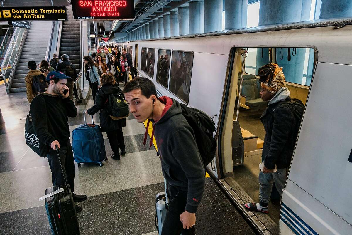 April 12, 2019 - People can be seen at the SFO BART station. BART's state of emergency and the exit of its general manager on Thursday come amid a new pressure: concern over homeless people evading fare on trips to SFO, where they take shelter in the terminals. (Nick Otto Special to the Chronicle)