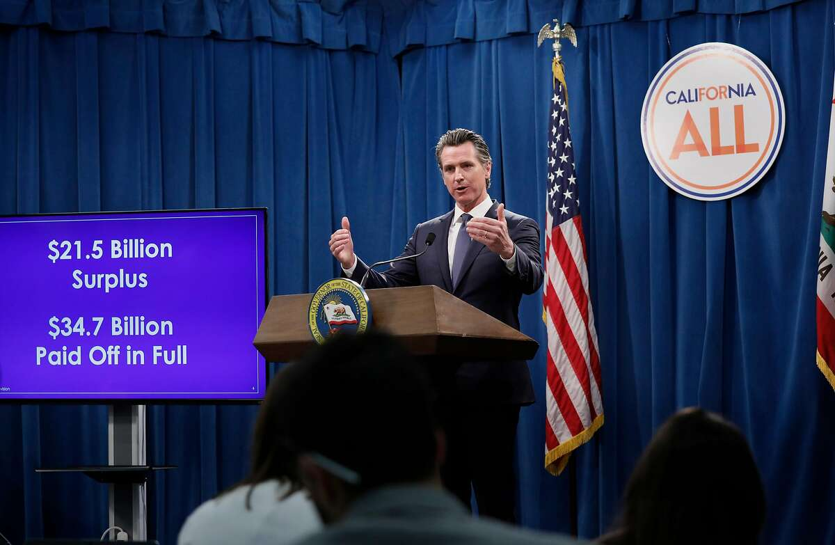 California Governor Gavin Newsom releases details of his revised state budget for fiscal 2019-2020 during a press conference.