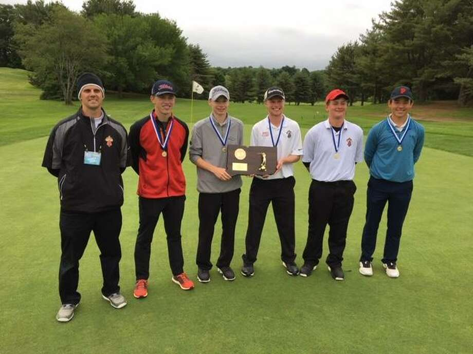Members of the Portland golf team pose after winning last year's Division IV championship. Photo: Submitted