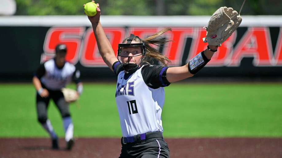Stephen F. Austin pitcher Kassidy Wilbur throws during an NCAA softball game against UIW on Saturday, April 13, 2019 in San Antonio. (AP Photo/Darren Abate) Photo: Darren Abate, Associated Press / Copyright 2018 The Associated Press. All rights reserved.