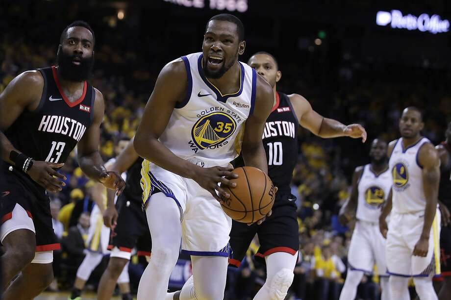 6c02e1637 Houston Rockets' James Harden, left, and Golden State Warriors' Kevin  Durant (