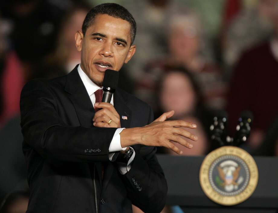 President Barack Obama speaks at a town hall meeting on the American Recovery and Reinvestment Plan, Monday, Feb. 9, 2009, in Elkhart, Ind. (AP Photo/Michael Conroy) Photo: Michael Conroy, AP