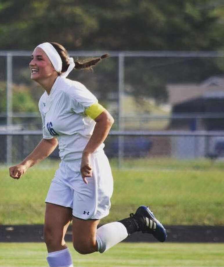 Gladwin's Lauren Seebeck celebrates a goal during a game earlier this season. Photo: Photo Provided