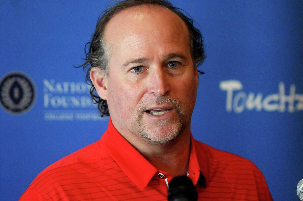 UH football coach Dana Holgorsen speaks to the media before the Touchdown Club Roundtable at the Bayou City Event Center Thursday May 9, 2019.(Dave Rossman Photo)