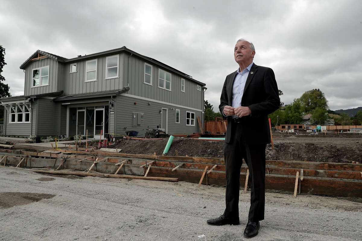 Danville Councilman Newell Arnerich, who opposes changes to local zoning brought about by SB50 in front of the new Abigail Place single-family home development in Danville, Calif., on Monday, May 6, 2019. State Sen. Scott Wiener's SB50, besides allowing denser housing near transit, would wipe out single-family zoning in many suburban cities and allow apartment construction in such areas.