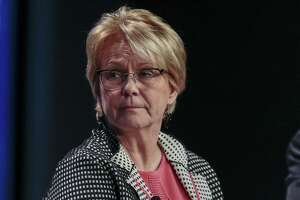 Vicki Hollub, president and chief executive officer of Occidental Petroleum. The Houston independent on Monday said it lost $8.4 billion, or $9.12 per share, during the second quarter.