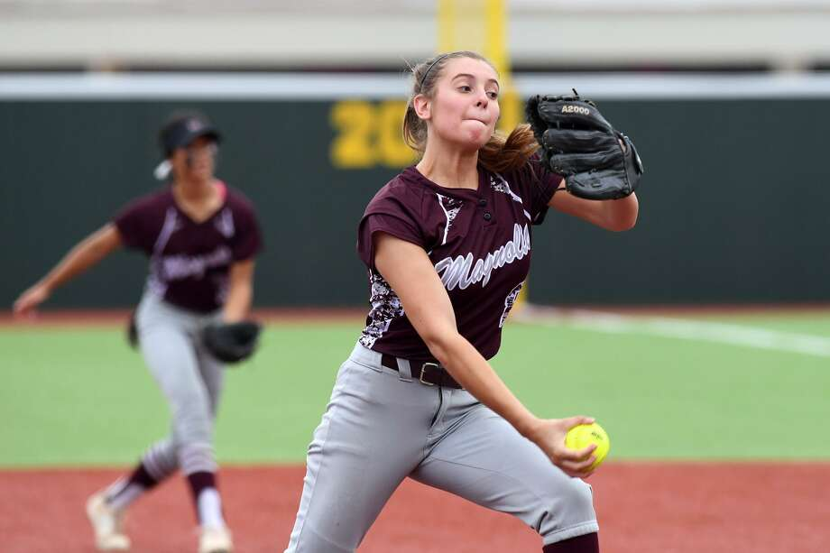 Magnolia's Sawyer Jordan delivers a pitch against College Station during a Region III-5A quarterfinal game Thursday, May 9, 2019 at Madisonville High School. Photo: Laura McKenzie / The Eagle