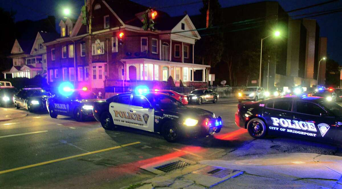 File photo of Bridgeport, Conn., police cruisers.