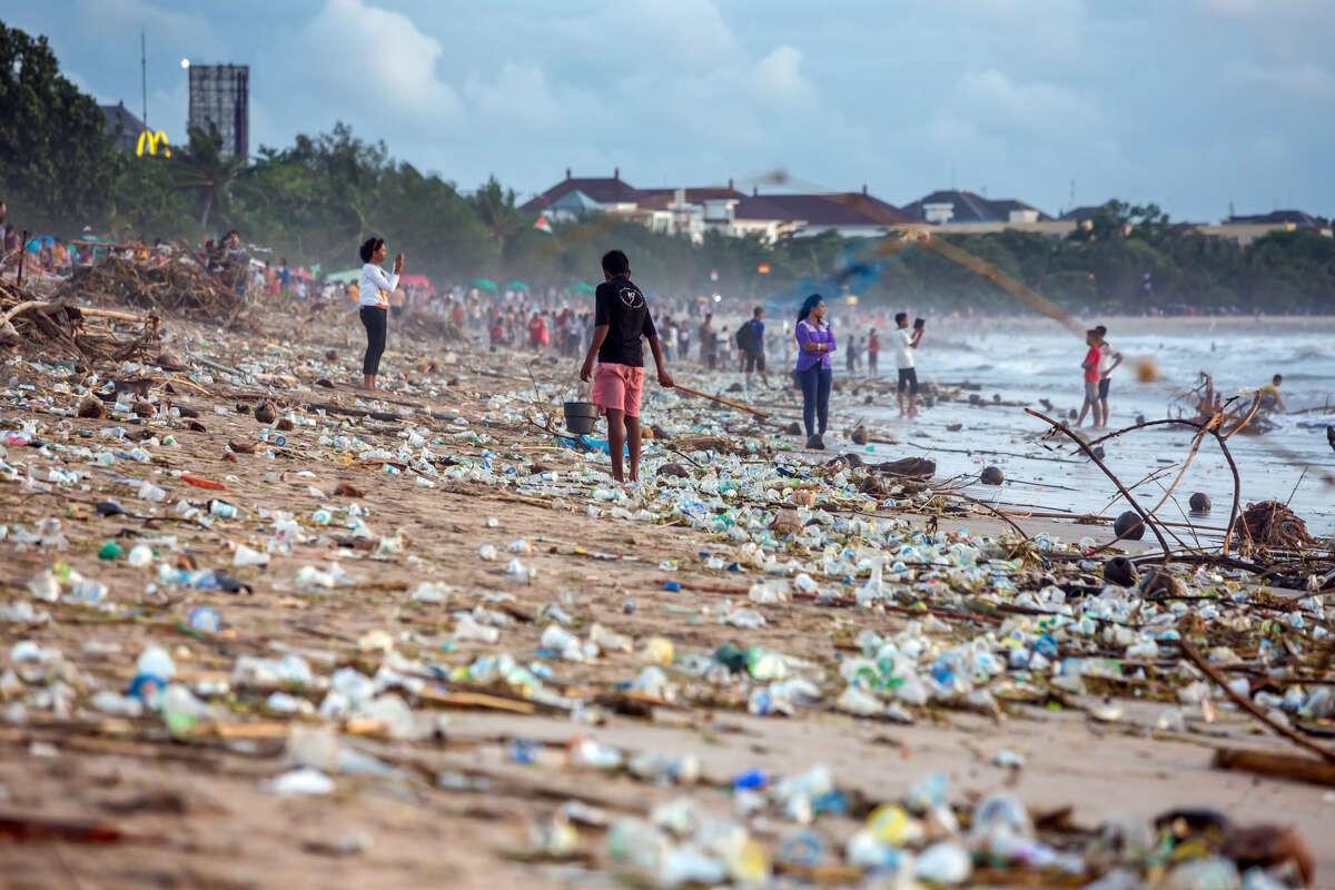 Beach pollution at Kuta beach, Bali, Indonesia.