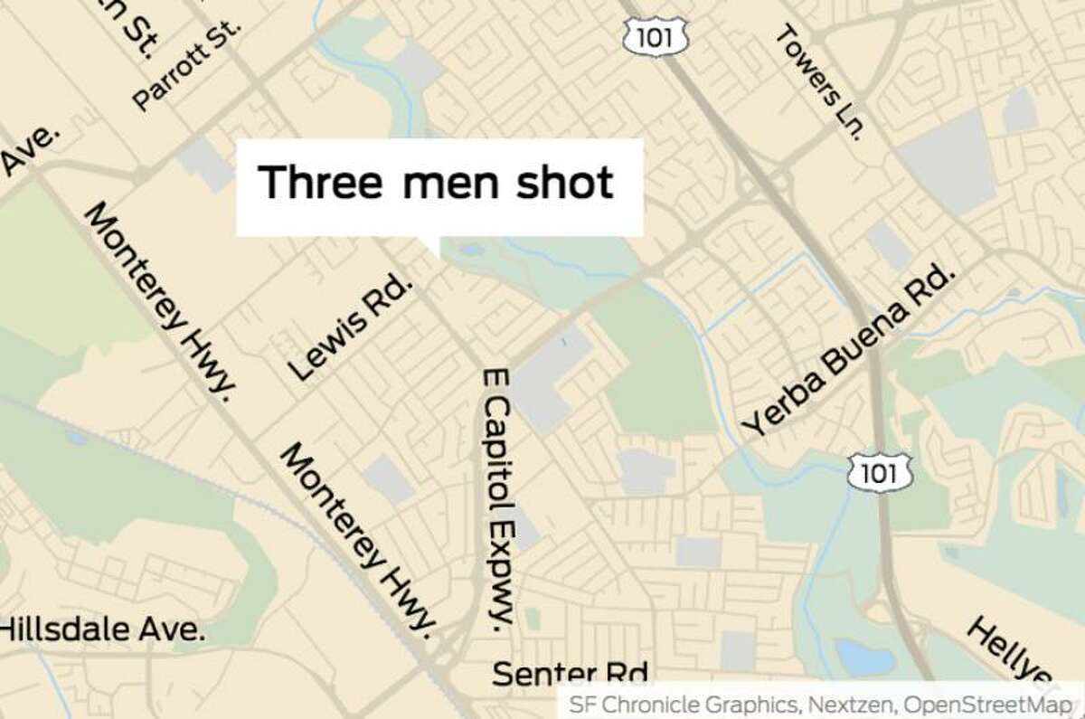 Three men were hospitalized Thursday afternoon after getting shot in San Jose - including one wearing body armor, on the 2800 block of Senter Road. All three men were suffering from at least one gunshot each, according to the San Jose Police Department.