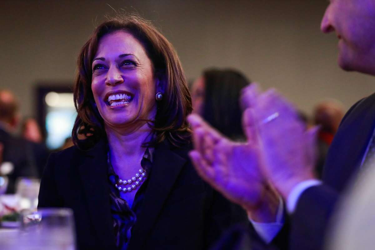 Democratic Presidential candidate U.S. Sen. Kamala Harris smiles during the Sun-Reporter's anniversary gala which celebrated 75 years as the city's black weekly publication at the Hyatt Regency in San Francisco, California, on Thursday, May 9, 2019.