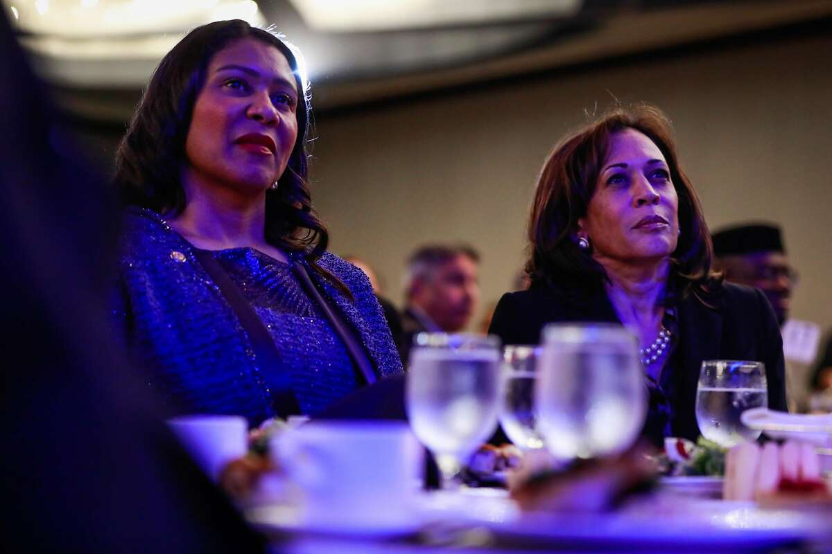 San Francisco Mayor London Breed (left) and Democratic Presidential candidate U.S. Sen. Kamala Harris smile during the Sun-Reporter's anniversary gala, which celebrated 75 years as the city's black weekly publication at the Hyatt Regency in San Francisco, California, on May 9, 2019.