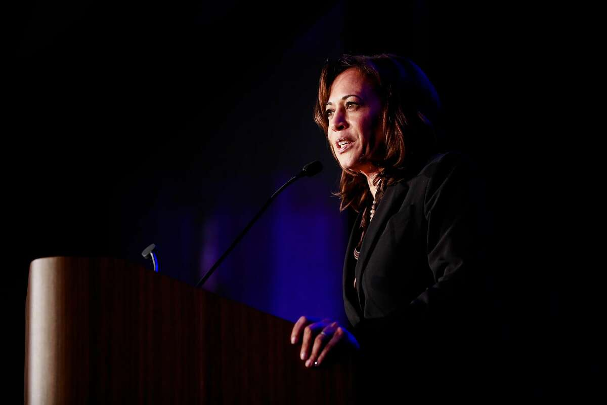 Democratic Presidential candidate U.S. Sen. Kamala Harris speaks during the Sun-Reporter's anniversary gala which celebrated 75 years as the city's black weekly publication at the Hyatt Regency in San Francisco, California, on Thursday, May 9, 2019.
