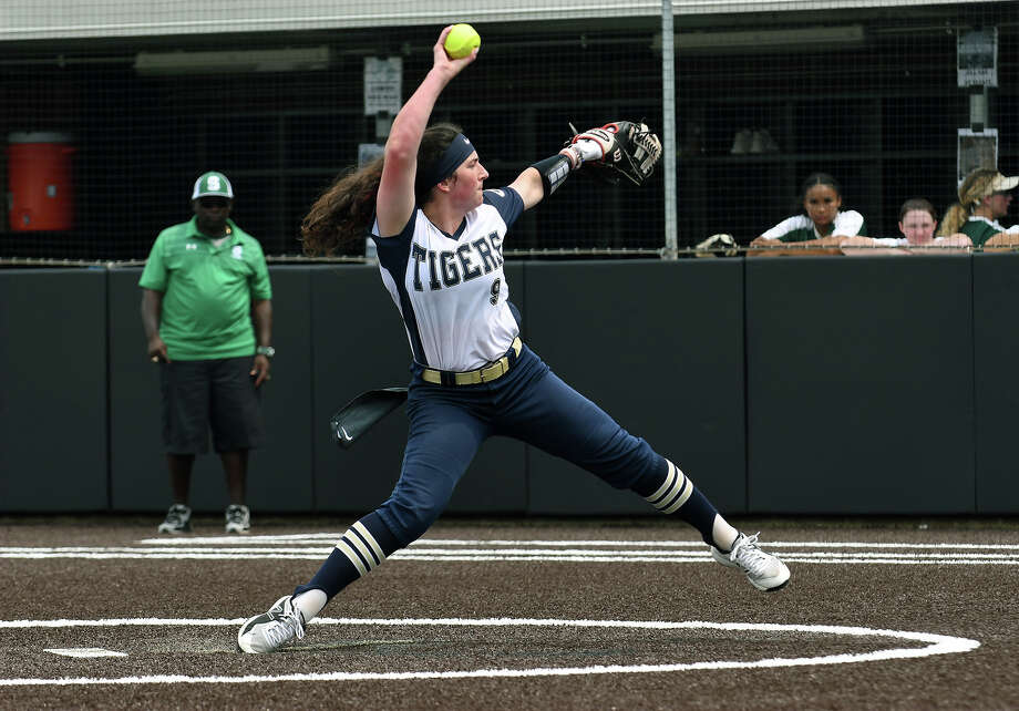 Klein Collins senior pitcher Kenedy Hines works to a Spring hitter during the top of the second inning of Game One of their Region II-6A Regional Quarterfinal Playoff Series matchup at Humble High School on May 9, 2019. Photo: Jerry Baker, Contributor / Houston Chronicle