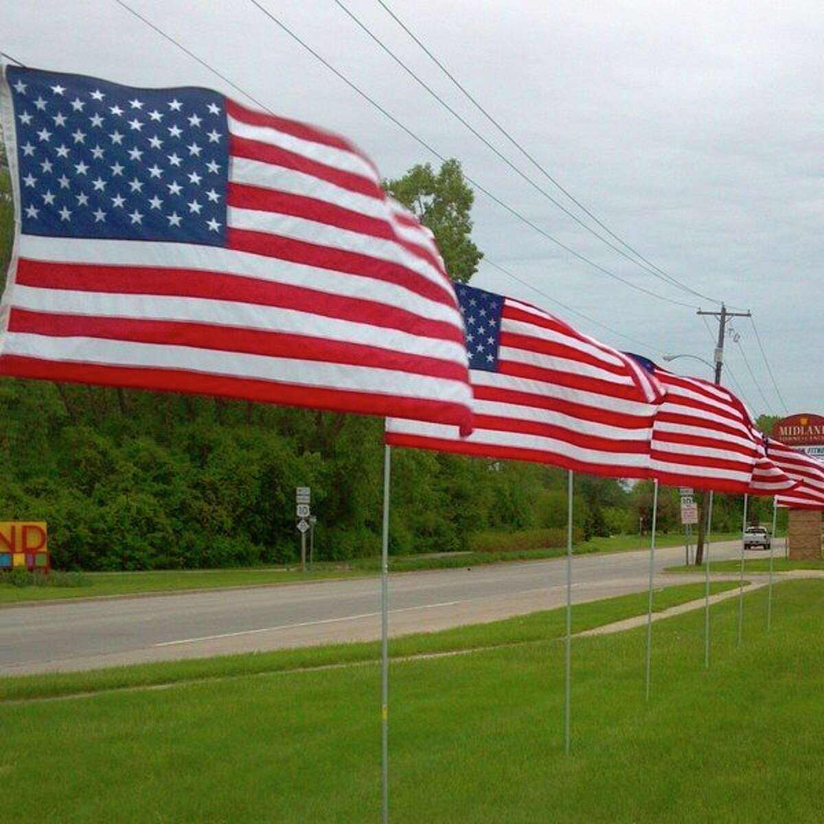 For the fifth year, Kiwassee Kiwanis Club of Midland will be placing 400 flags around Midland on five national holidays-- Memorial Day, Flag Day, Fourth of July, Labor Day and Veterans Day. (Photo provided)