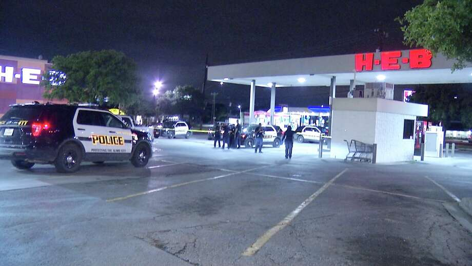 The two robbers approached the victim's pickup truck at about 2:20 a.m. at the H-E-B in the 2200 block of Culebra Road. They flattened his tire and then attempted to rob him. Photo: Ken Branca